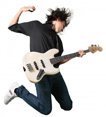 man guitarist jumping with guitar