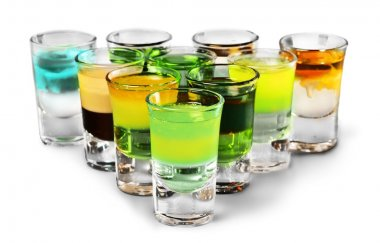 colourful shot drinks