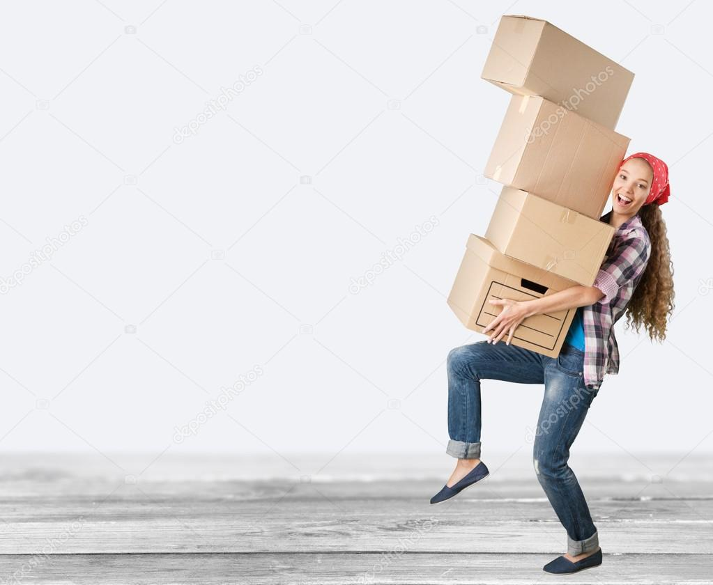 Girl moving into new house stock photo billiondigital for Moving to new house