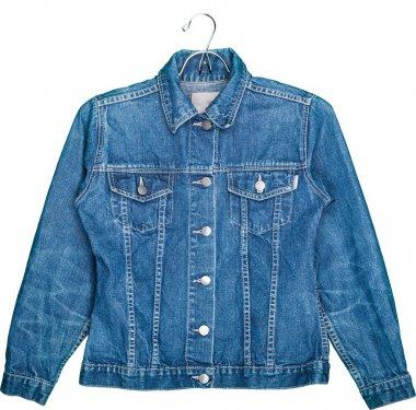 denim jeans jacket on hanger