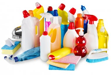 plastic bottles and cleaning sponges