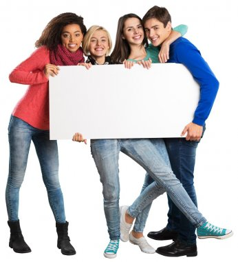 teens holding blank banner