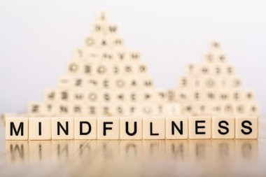 mindfulness sign with wooden cubes