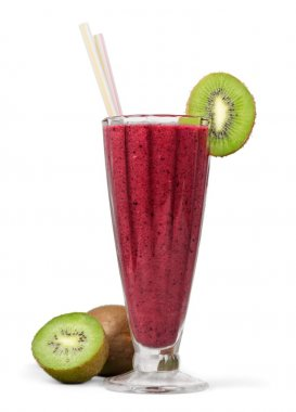 Fruit smoothie in a glass with straw