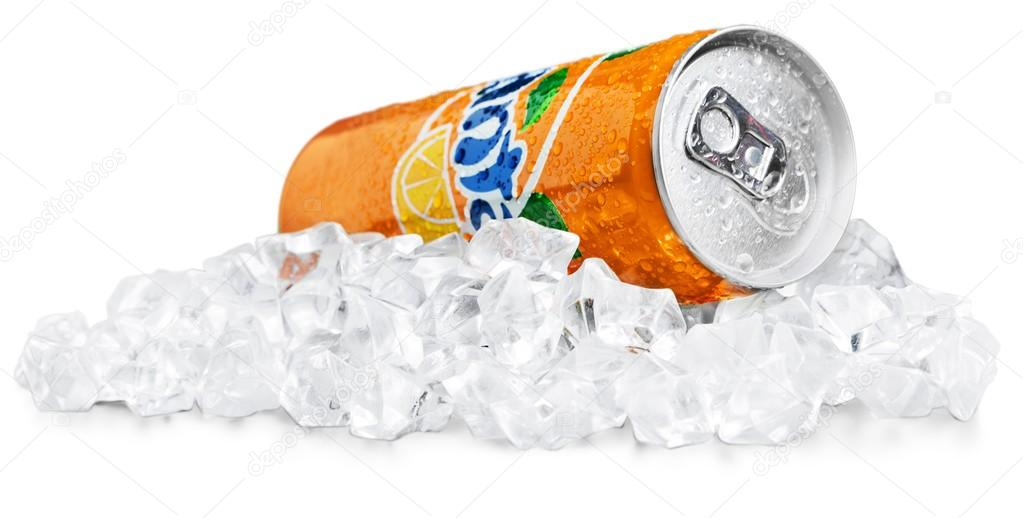 Fanta Icy Orange on a bed of ice
