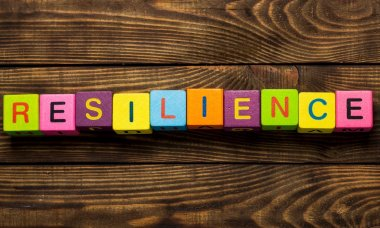 resilience sign with wooden cubes