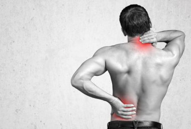 Strong man with neck pain
