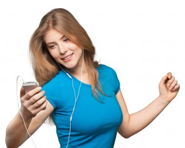 Woman Listening Music in phone