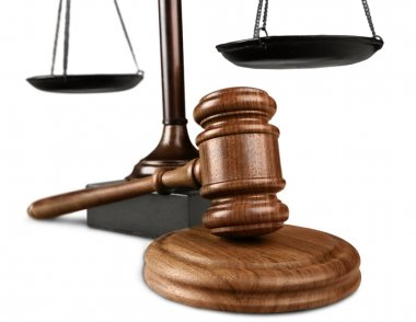 Justice Scales and wooden gavel