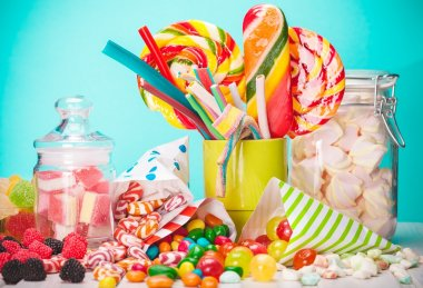 Colorful candies, jelly and marmalade.