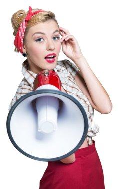 Portrait of woman holding megaphone