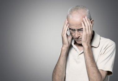 portrait of sad old caucasian man