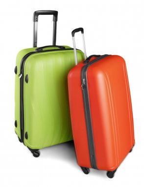 large suitcases on background