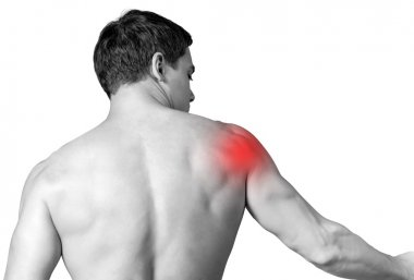 Strong man with shoulder pain