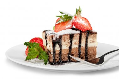 Piece of chocolate cake isolated