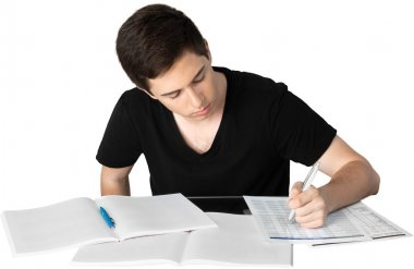 Handsome Teenager studying
