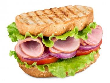 Tasty hamburger on white background,