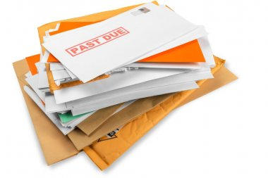 envelopes with overdue utility bills