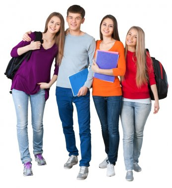 group of students  isolated