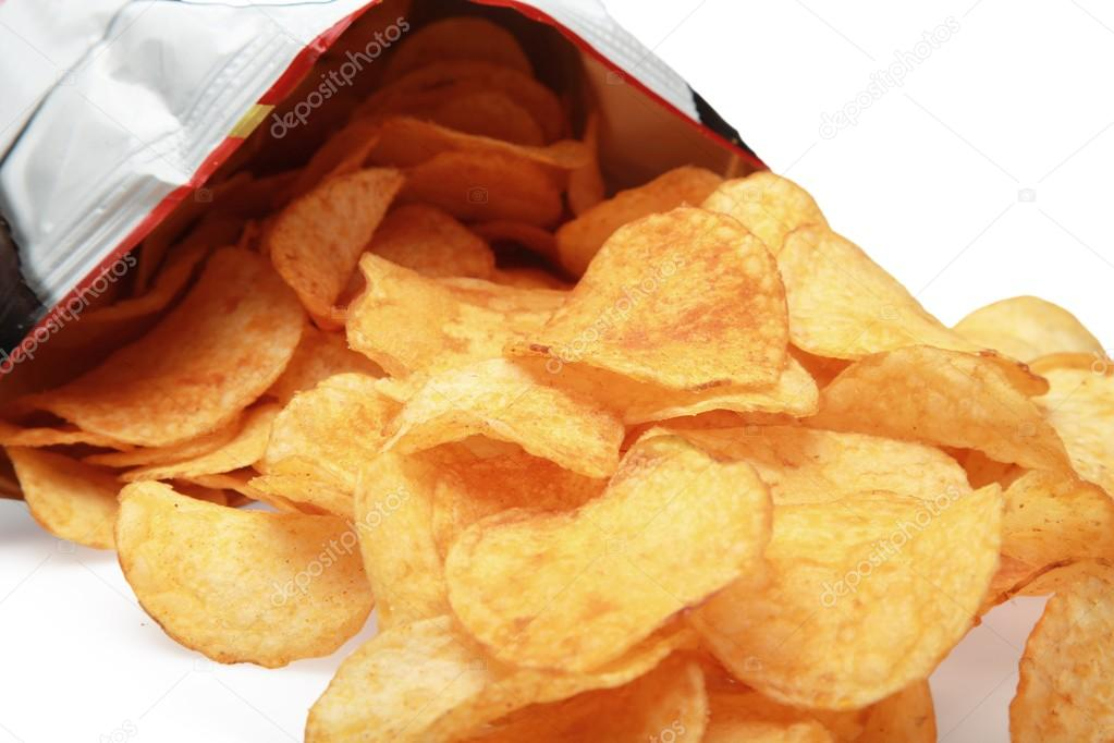 Potato chips bag isolated