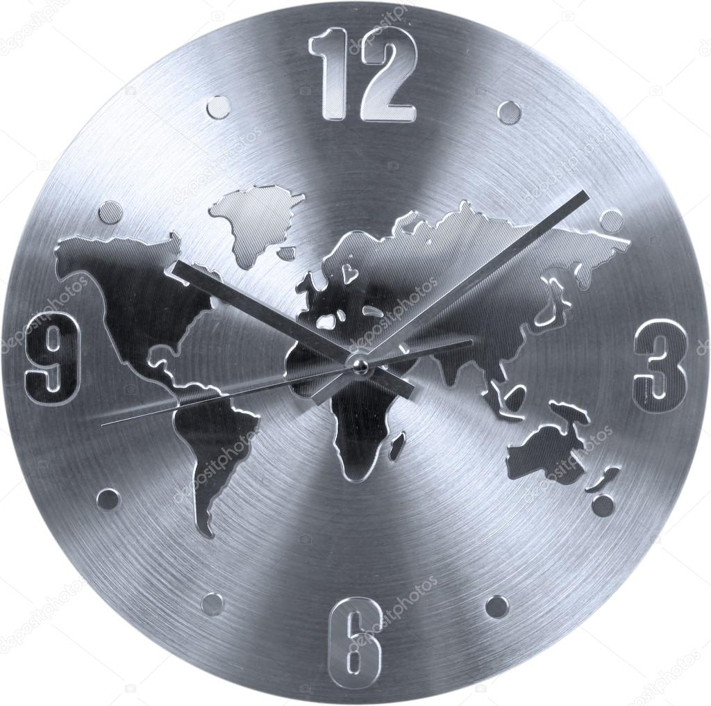 Stainless clock with world map sign stock photo billiondigital stainless clock with world map sign stock photo gumiabroncs Images