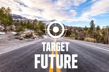 tagret  Future written on desert road