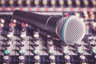 microphone and  digital studio mixer
