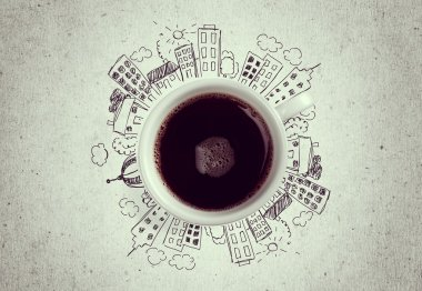 Conceptual image of cup of coffee and modern city concept stock vector