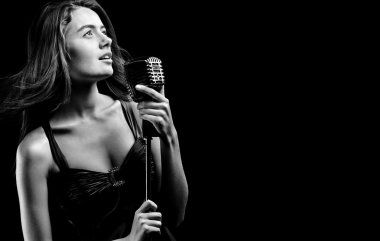Elegant woman singing