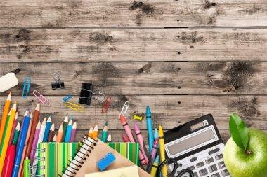 School supplies on  background