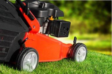 Lawn mower on a lawn