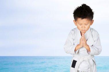 Asian Little Karate Boy