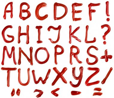 ketchup letters isolated