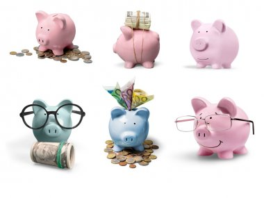 pink piggy bank and coins
