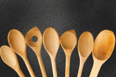 Wooden Spoon. Wooden Kitchen Utensils Bottom Border