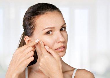 Woman, remove, facial.