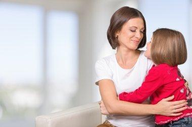 Mother, child, hugging.