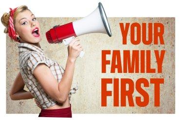 Family, Megaphone, Women.