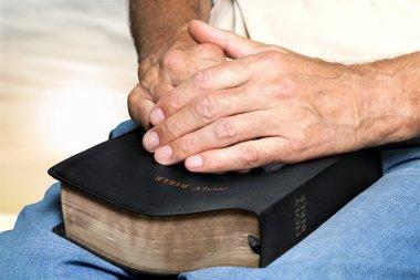 Bible, Human Hand, Praying. stock vector