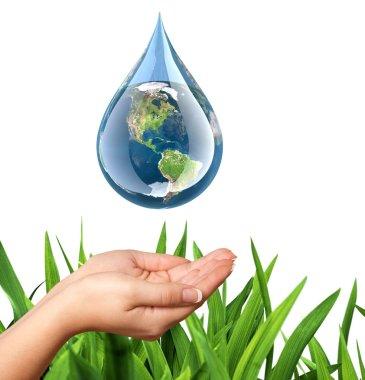 Water, Drop, Earth. stock vector