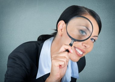 Magnifying Glass, Searching, Women.