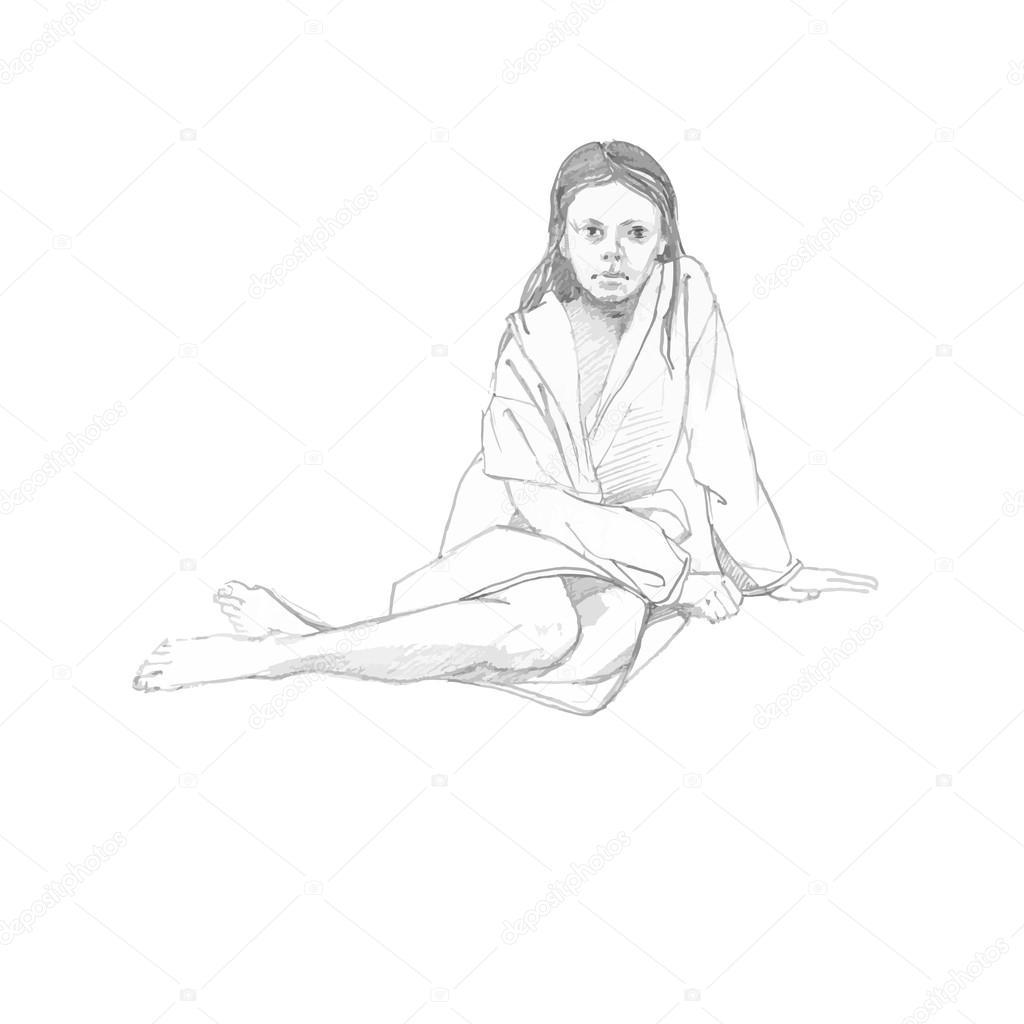 Crayons esquisse de jeune fille en peignoir après avoir pris une douche vector vecteur par s sotnykova