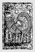 Gallo in stile classico dellintaglio in legno