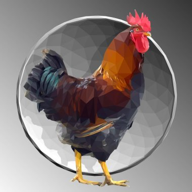 low poly rooster 03