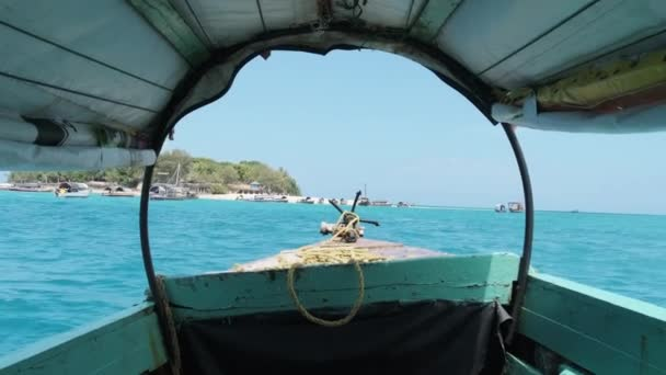 View of Bow and Anchor on Small Old Wooden African Boat Sailing in Indian Ocean