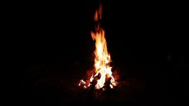 Oheň v noci v lese a rozpálené uhlí na zem a spoustu jiskry z ohně