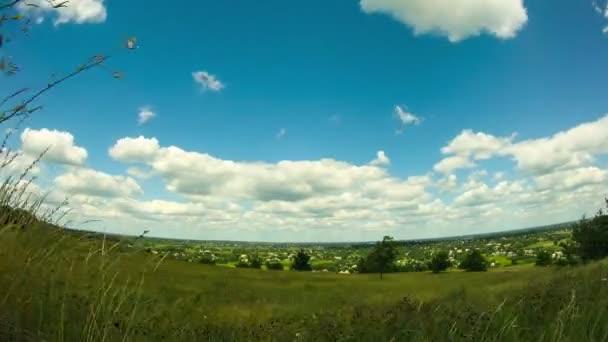 Krajina, mraky táhnou nad polem se stromy.