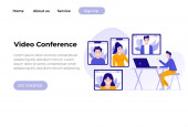 Video conference landing. People on laptop screen talking with colleague. Videoconferencing and online meeting workspace vector page