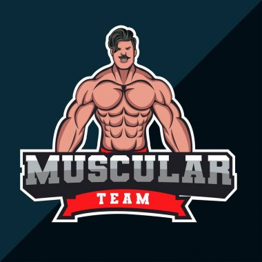 Muscle man bodybuilder mascot logo icon
