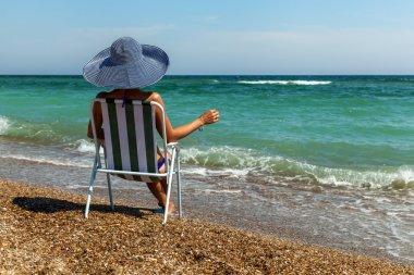 beach, umbrella, summer, woman, hat, holiday, coast, laptop, mob